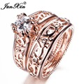 JUNXIN New Sale Men Women Ring Set Rose Gold Filled Wedding Engagement Rings Bridal Sets Fashion Jewelry