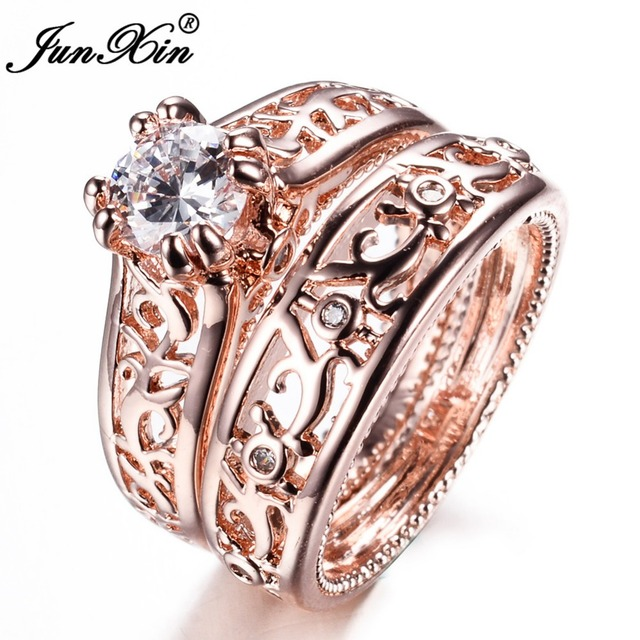 JUNXIN New Sale Men Women Ring Set Rose Gold Filled Wedding