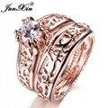 JUNXIN Nova Venda Conjunto Anel Das Mulheres Dos Homens Rose Gold Filled Wedding Anéis De Noivado Noivas Conjuntos de Jóias de Moda