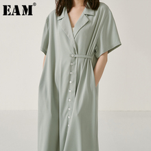 [EAM] 2019 New Spring Summer Lapel Short Sleeve Green Button Pleated Split Joint Temperament Dress Women Fashion Tide JW869 цена