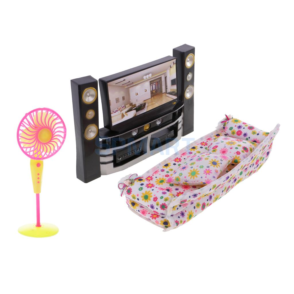 2019 Nieuwe Stijl 1/6 Schaal Dollhouse Woonkamer Meubels Kit Tv Theater Set-tv Sofa Fan Kit Voor Woonkamer Slaapkamer Decor Model Speelgoed Comfortabel Gevoel