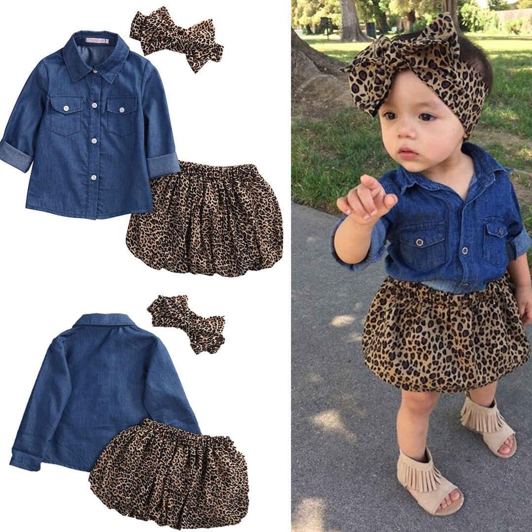 Детская одежда для маленьких девочек; 3 предмета; платье для маленьких девочек; джинсовая рубашка; леопардовая юбка; повязка на голову; комплект детской одежды