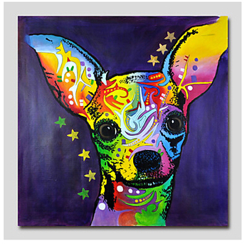 One Piece Hand Painted Modern Canvas Oil Painting Wall Decor Pop Art Cute Dog  Abstract canvas Wall art  for Home Decor