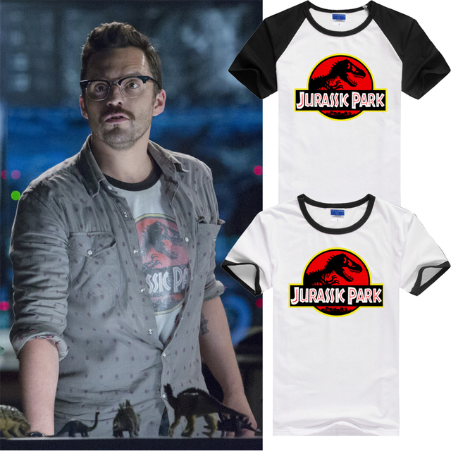 2015 movie t-shirt Jurassic Park World man T shirt  Fashion Summer cotton lycra Style  TOP Tees Shirts  For Men
