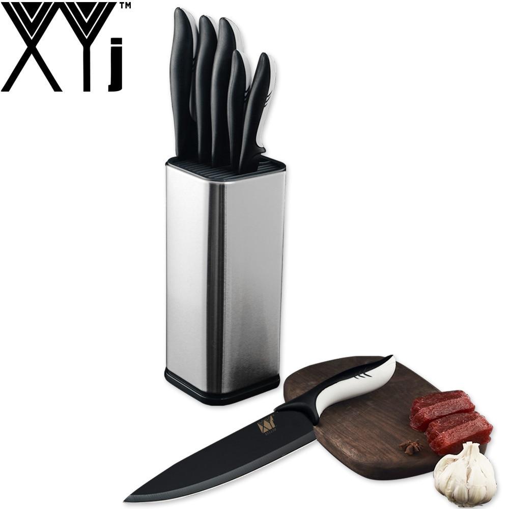 XYj מטבח בישול נירוסטה סכיני כלים שחור להב קילוף שירות שף Santoku חיתוך לחם מטבח אביזרי כלים