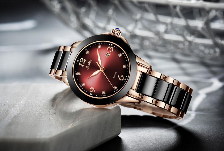 Casual Cristal Dial Rose Gold Relojes Pará Mujer À Prova D' Água