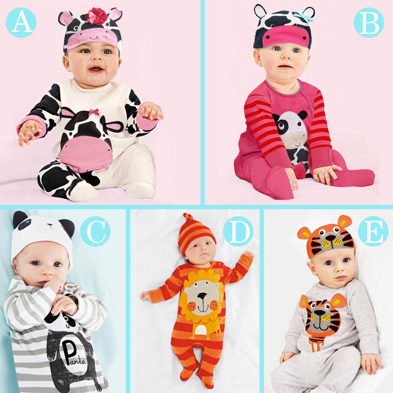 5 Style Animal Baby Clothes Sets Bebe Boys Girls Romper+Hat Suit Jumpsuit Long Pajamas Rompers Free Shipping Retail sr118 baby rompers 2016 spring newborn cotton pajamas clothes bebe long sleeve hooded romper infant overall boys girls jumpsuit
