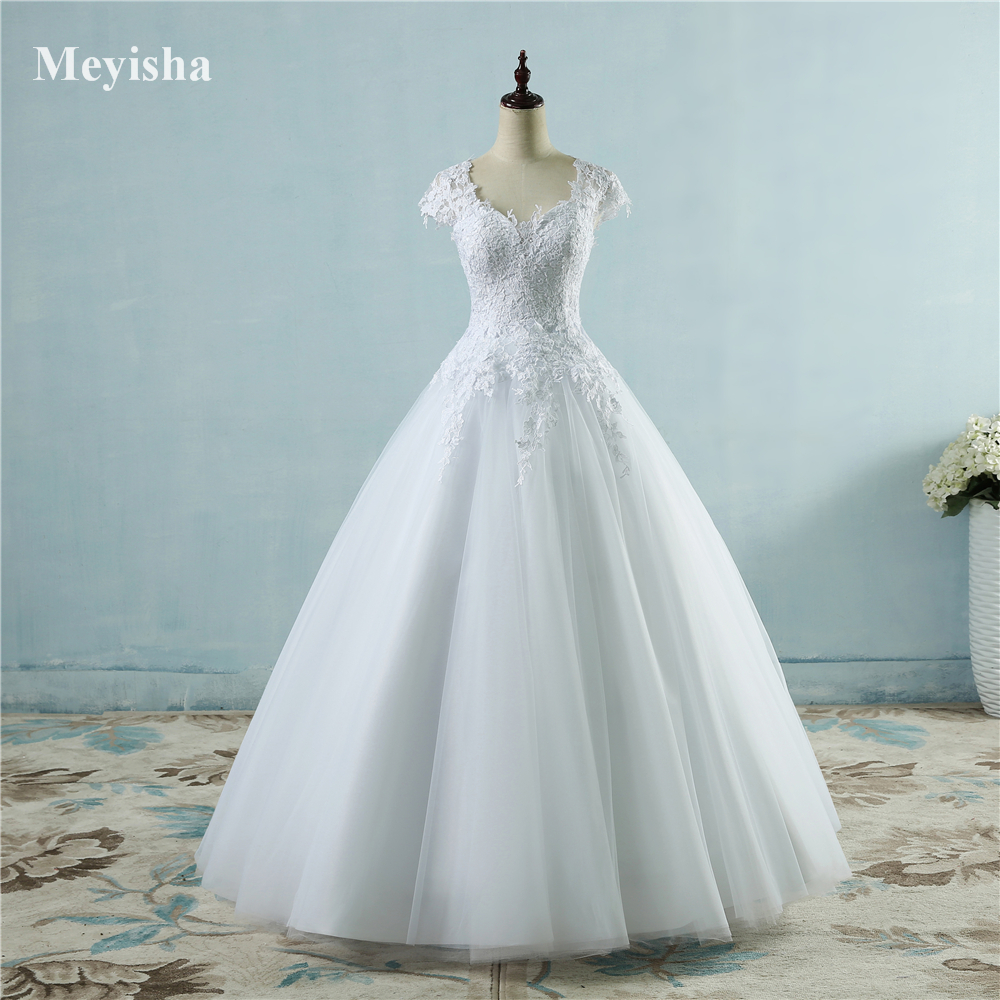 ZJ9085 2016 White Ivory Lace Tulle Wedding Dresses For Cap Sleeve Bride Dress Plus Size Maxi Formal Size 2-26W