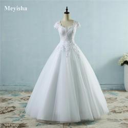 ZJ9085 2016 Белый Цвета Слоновой кости, кружевной, фатиновый Свадебные платья для рукав-крылышко платье невесты Большие размеры макси