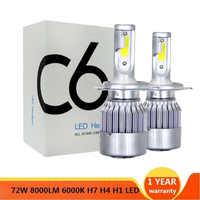 2 pièces H7 LED Turbo H4 Voiture Phare Ampoule COB H11/H8/H9 H1 H3 9005/HB3 9006/HB4 Hir2 H27 3000 K 8000LM 4300 K 6000 K 12 V Auto Voiture