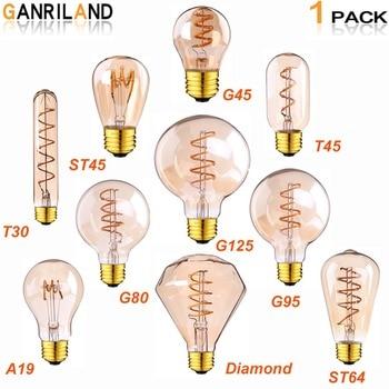 GANRILAND Retro LED Lampe E27 220 V Dimmbare Led Lampe Filament Licht 3 W  2200 K Diamant Gold Edison Spirale Lampen G125 G80 Led Lampen