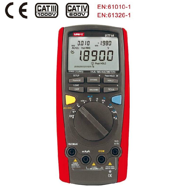 UNI T UT71 Intelligent vrai RMS multimètre numérique Auto AC DC voltmètre ampèremètre température Freq testeur analogique Bar USB Interface