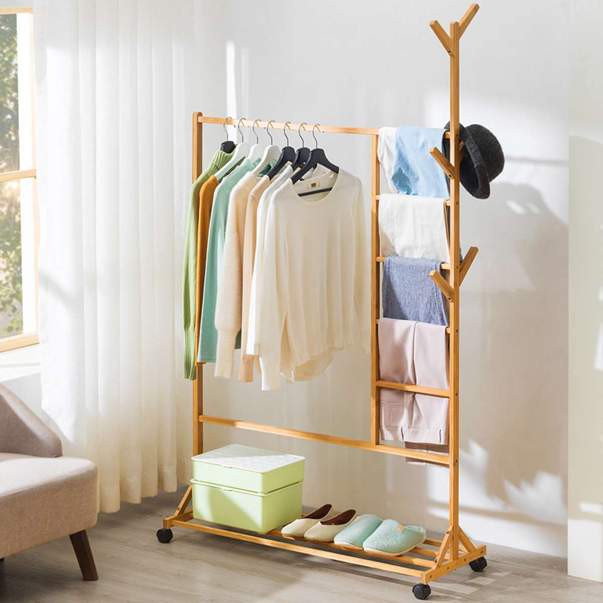 175X100CM Bamboo Multi-function Coat Rack Bedroom Simple Modern Removable Hanger Storage Shelves Household Furniture