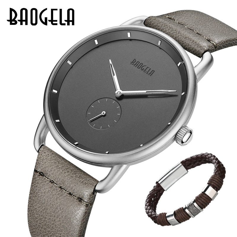 New BAOGELA Brand Men's Quartz Analogue Watches Fashion Simple Leather Minimalism Ultra Thin Wrist Watch Man Relogios Masculinos
