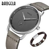 Nueva Marca BAOGELA para hombre, relojes analógicos de cuarzo, reloj de pulsera ultrafino de cuero Simple y moderno