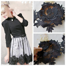 3Yards Black Lace Trim Two Layer Guipure Venice Venise Floral Pattern Applique Lace Trim Craft DIY Sewing Material Free Shipping guipure lace panel frill trim sweatshirt
