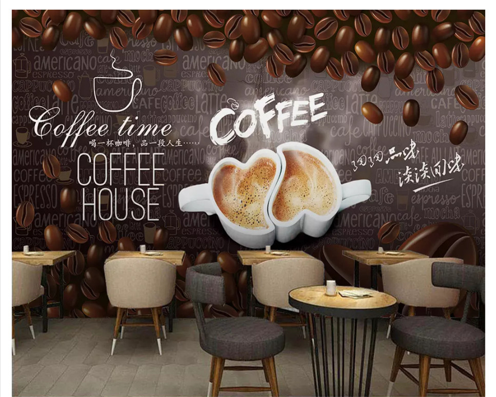 Beibehang High-level Wall Paper HD Hand-painted Coffee Decoration Painting Background Wall Papel De Parede 3d Wallpaper Tapety