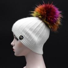 Winter Solid Color Skullies Beanies Elegant Women 2017 female Beanies Hat 22cm Colored Fur pompoms Hat Ladies Angora wool cap