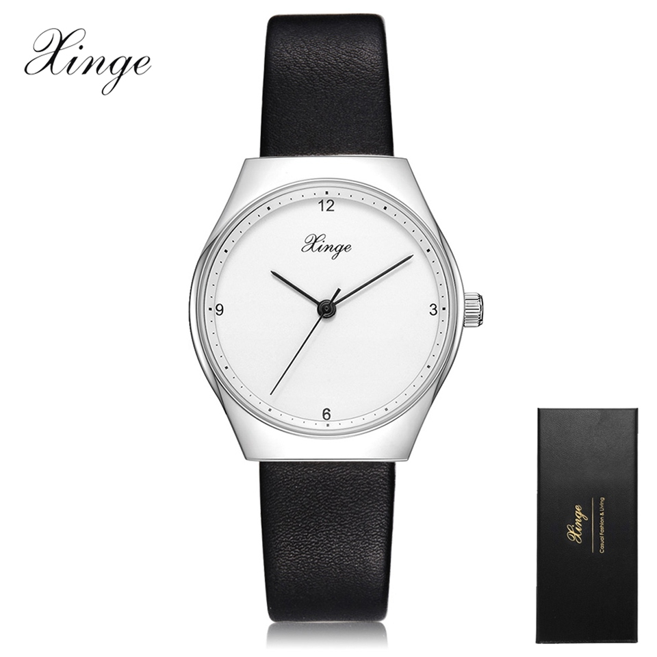 2017 New Arrival Xinge Watches Women Clock Dress Watch Ladies Casual Leather Quartz-Watch Luxury Silver Simple Wrist Watch Gifts yisuya simple ladies dress bamboo wooden wrist watch women casual relax handmade nature wood quartz watch genuine leather clock