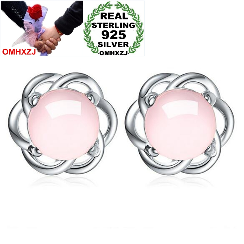 OMHXZJ Wholesale Sweet Lovely Fashion Woman Lady Party Gift Love Interwoven Rose Quartz 925 Sterling Silver Stud Earrings YS399OMHXZJ Wholesale Sweet Lovely Fashion Woman Lady Party Gift Love Interwoven Rose Quartz 925 Sterling Silver Stud Earrings YS399