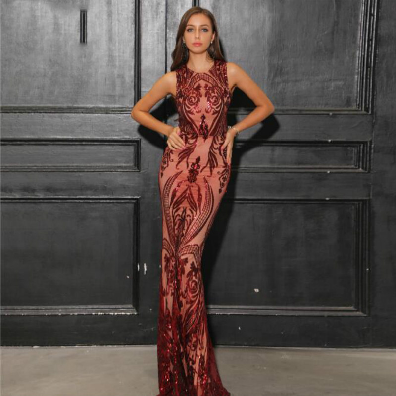 U-SWEAR 2019 New Arrival Burgundy   Bridesmaid     Dresses   O-Neck Sleeveless Sequin Mermaid/Trumpet Vintage   Dress   Elegant Vestidos