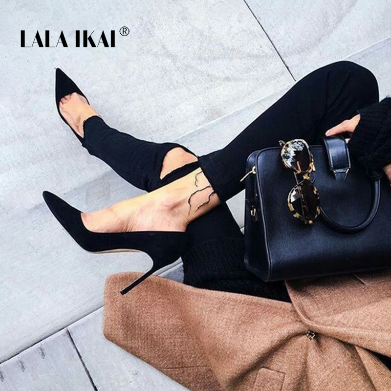 LALA IKAI Elegant Woman Pumps Pointed Toe High Heel Women 2018 Faux Suede Ladies Stiletto Heels Dress Basic Shoes 900C0474 -35 plus size ol office lady shoes faux suede high heels woman shoes pointed toe dress shoes basic pumps women boat zapatos mujer777