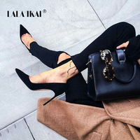 LALA IKAI Elegant Woman Pumps Pointed Toe High Heel Women 2018 Faux Suede Ladies Stiletto Heels Dress Basic Shoes 900C0474 35