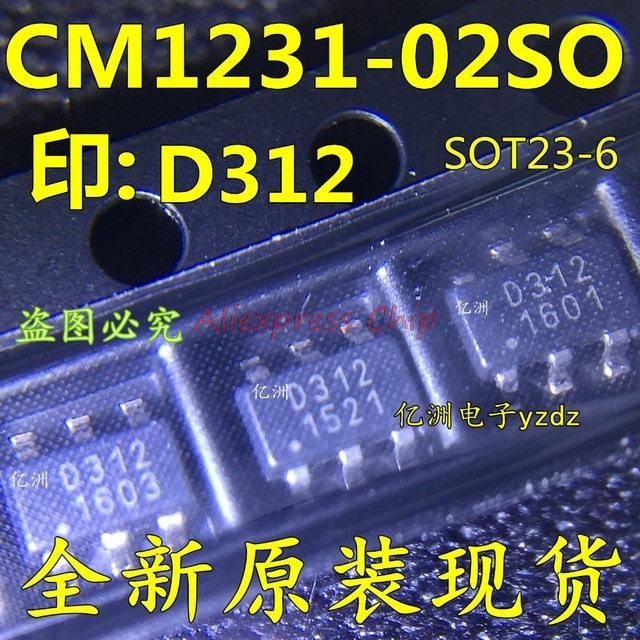 1pcs/lot CM1231-02SO CM1231 D312 SOT23-6 In Stock