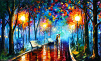 Large art Handpainted Lover Rain Street Tree Oil Painting On Canvas Wall Art Lamp Landscape Pictures Home Decor For Living Room
