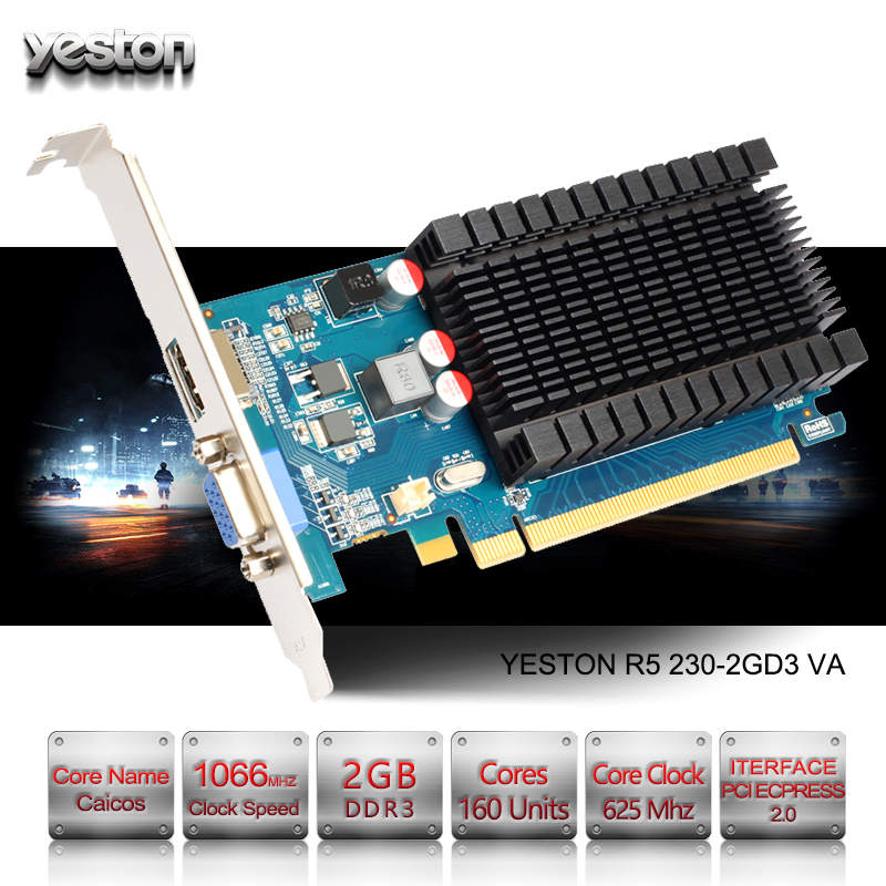 Yeston Radeon R5 230 GPU 2GB GDDR3 64 bit Gaming Desktop computer PC Video  Graphics Cards support VGA/HDMI PCI-E X16 2 0