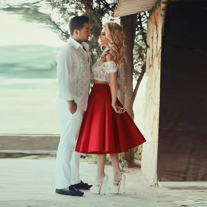 High Quality Red Satin Skirt Zipper Empire Waistline A Line Tee Length Midi Skirt Pleated Elegant