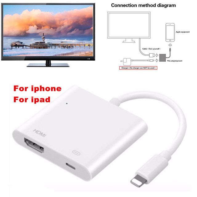 new arrival 6240c f0bcc White Light to AV HDMI/HDTV TV Digital Cable Adapter For iPhone 8 8plus For  iPhone X For iPhone 7/7plus