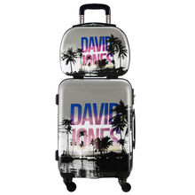 "DAVIDJONES 2 PCS/SET carry-on luggage 20″ & 13""make-up bag, Vintage Spinner trolley Travel woman rolling suitcase Cosmetic bag"