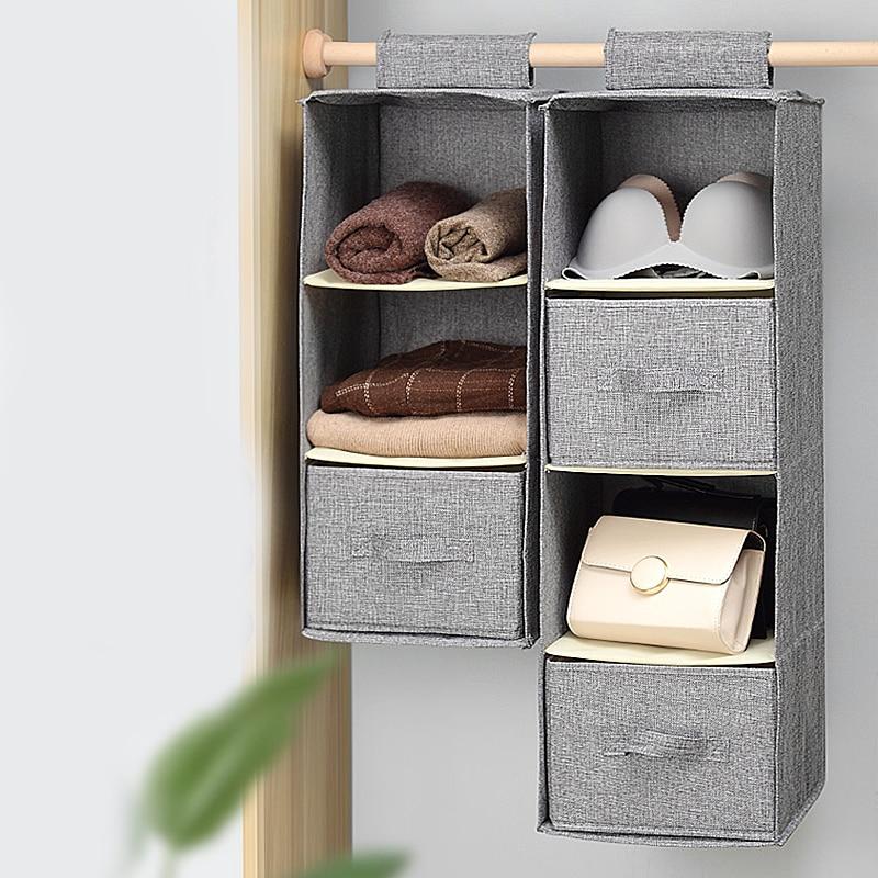 Hanging Closet Organizer 4 Shelves Foldable Pockets Clothing Storage Holder with Drawer Beige