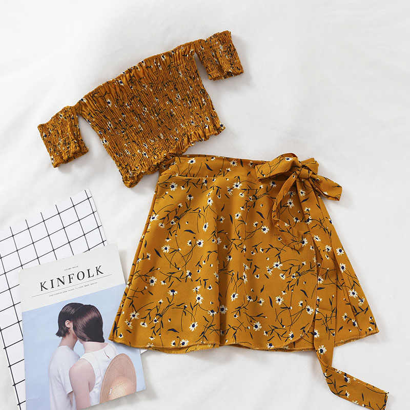 Tweedelige Set Vrouwen Sexy Bloemen Mini Top En Rok Zomer Casual Strand Korte Shirt 2 Outfits Vrouwelijke Crop Top bijpassende Ensemble