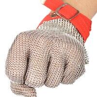 Luvas de protecção anti-corte do fio de aço com excelente anéis de aço reforçado e forte resistência ao desgaste luvas de segurança