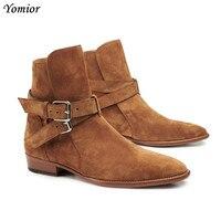 Роскошные Брендовые мужские ботинки ручной работы с модной пряжкой и ремешком в римском стиле, мужские ботинки «Челси» на танкетке из натур