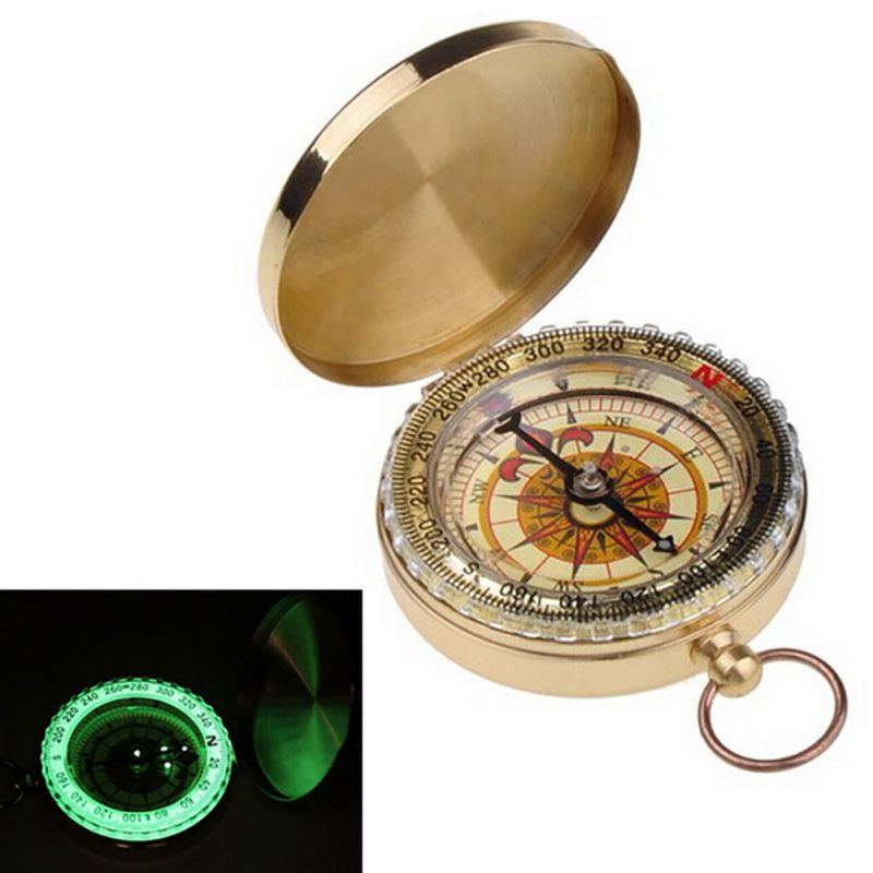 Luminous Camping Hiking Outdoor Portable Brass Pocket Golden Compass Survival Kit Navigation Barometer Orient Altimeter Tools