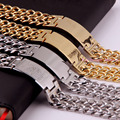 Top High Quality Four Choose Silve/Gold Cuban Link Chain With ID Charming Men's Bracelet Jewelry Stainless Steel 22.5cm*22.5mm