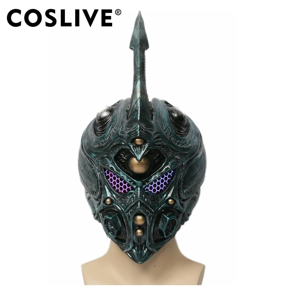 Coslive Bio Booster armure Guyver casque vert foncé avec corne amovible masque Cosplay Bio Booster armure casque Guyver