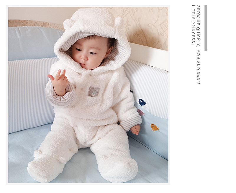 3bc806cbe2f Vlinder baby winter clothes overalls for newborns for girls boy rompers  bear Long sleeves shooded plush baby body jumpsuit Tags