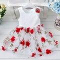 Varejo de Alta Qualidade de Algodão Puro Por Dentro Vestidos Da Menina Com Teste Padrão de Flor Do Partido Dos Miúdos Roupas Vestido Sem Mangas Menina T264