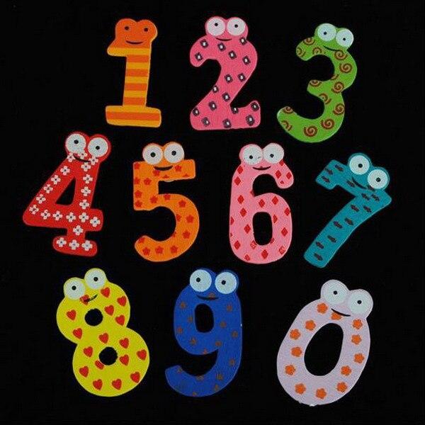 10 шт./лот магнит на холодильник номера мультфильм развивающие игрушки деревянный магнит на холодильник для Подарок для маленьких детей