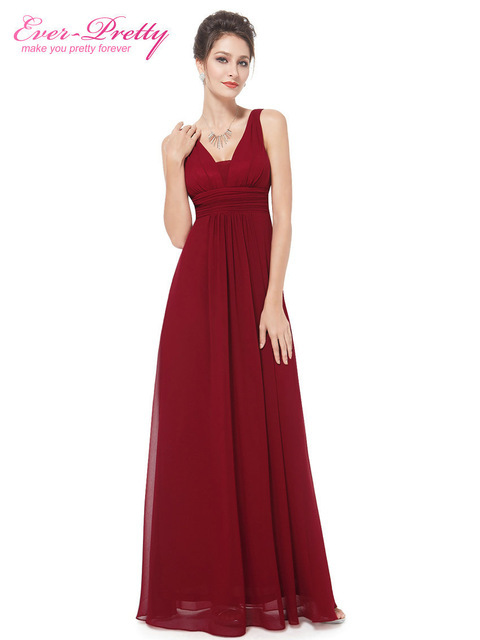 609204e9bbd Burgundy Bridesmaid Dresses 2018 EB20118 Elegant Deep V-neck Ruched Long  Wedding Guest Gowns Plus Size Vestido Longo