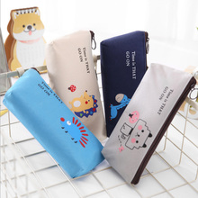 1X Kawaii Animal pen bag Canvas Pencil Case Storage Organizer Pen Bags Pouch Bag School Supply Stationery