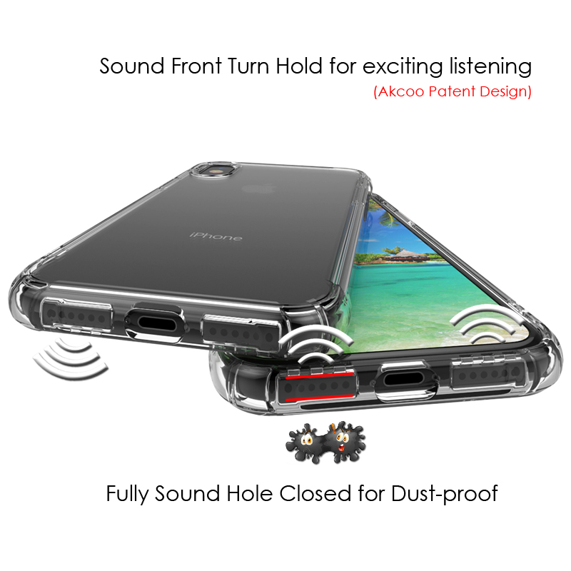 Akcoo Anti-shock TPU Soft Case for iPhone X with Sound Conversion hole design for iPhonex cover transparent cases for iPhone X