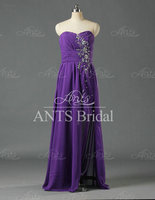 New Sexy Off Shoulder Beaded Purple Chiffon Short Front Long Back Evening Dresses For Party GW497