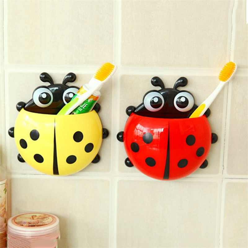 Lovely Ladybug Toothbrush Holder Wall Suction Hook Bathroom Set Toothbrush For Children Kids Sucker Toiletries Toothpaste Holder