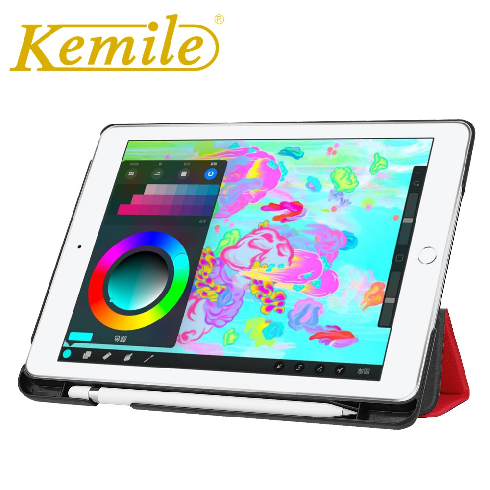 Kemile Case For New iPad 2018 PU Leather Slim Smart Case W Pencil Holder Wake Sleep Cover For New iPad 2018 9.7 Case A1893 A1954 for apple ipad pro 10 5 case 2017 new pu leather slim smart cover w pencil holder wake sleep function for ipad pro 10 5 case