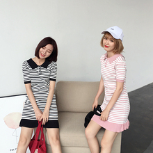 Women Stripes Short Sleeve Polo Neck Ruffled Knitted Short Dress Female Korean Stylenanda Summer Preppy Style Elastic Mini Dress